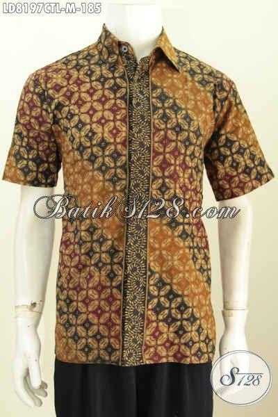 Hem Lengan Pendek Untuk Tampil Gagah, Baju Batik Solo Motif Klasik Cap Tulis Lasem Harga 185K [LD8197CTL-M]