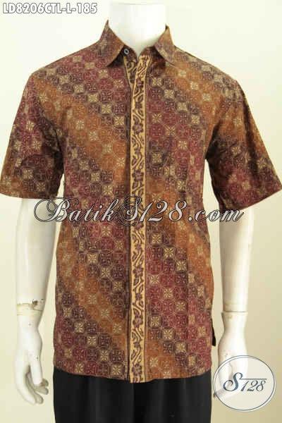 Pakaian Batik Jawa Tengah Terkini, Baju Batik Solo Halus Cap Tulis Lasem Model Lengan Pendek Untuk Penampilan Lebih Mempesona [LD8206CTL-L]