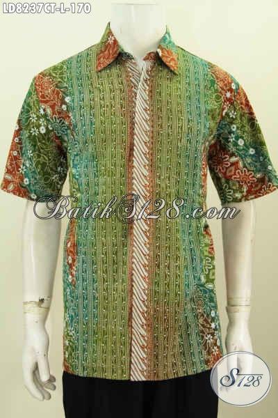 Busana Batik Keren Dan Elegan, Baju Batik Solo Halus Proses Cap Tulis Motif Kombinasi Bahan Adem Untuk Tampil Bergaya [LD8237CT-L]