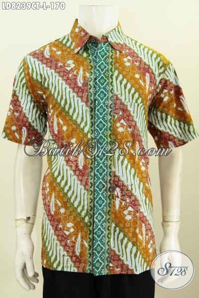 Baju Hem Untuk Kondangan, Pakaian Batik ELegan Proses Cap Tulis Motif Klasik Cocok Juga Buat Ke Kantor [LD8239CT-L]