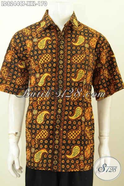 Hem Batik Jumbo Cowok Gemuk, Pakaian Batik Modis Motif Klasik Bahan Adem Proses Cap Tulis Hanya 170K [LD8244CT-XXL]