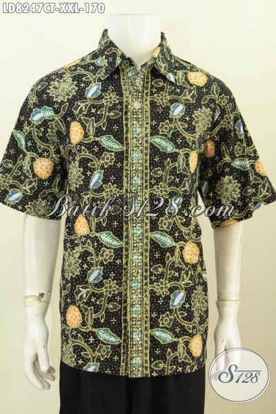 Baju Batik Murah Kwalitas Mewah, Pakaian Batik Spesial Untuk Lelaki Gemuk Bahan Halus Proses Cap Tulis Cocok Buat Hangout [LD8247CT-XXL]