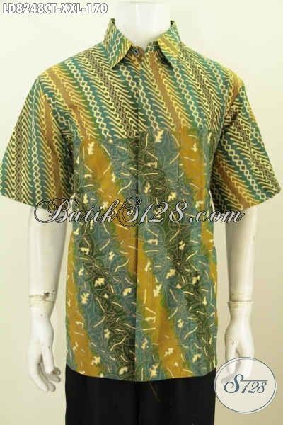Batik Hem Pria Motif Modern Klasik Lebih Keren Dan Berkelas, Pakaian Batik Cap Tulis Buatan Solo Bikin Penampilan Lebih Macho Dan Tampan [LD8248CT-XXL]