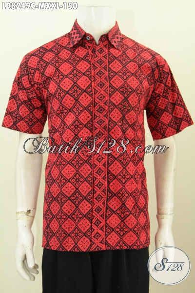 Baju Batik Modis, Hem Batik Keren, Pakaian Batik Gaul Motif Unik Proses Cap Untuk Pria Tampil Bergaya [LD8249C-M]