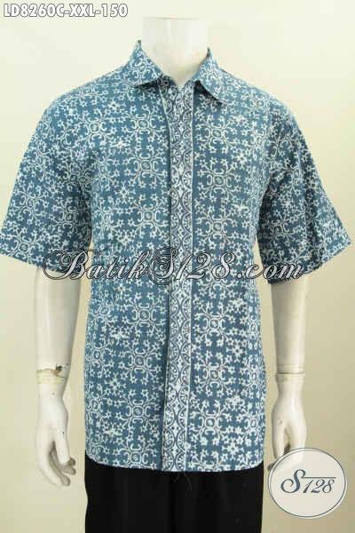 Hem Lengan Pendek Istimewa Spesial Untuk Lelaki Gemuk, Baju Batik Halus Motif Trendy Proses Cap Tampil Makin Bergaya [LD8260C-XXL]