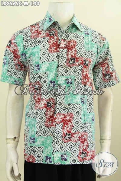 Hem Batik Gaul Untuk Cowok, Baju Batik Solo Motif Keren Dan Elegan Proses Cap Di Jual Online 130K [LD8262C-M]