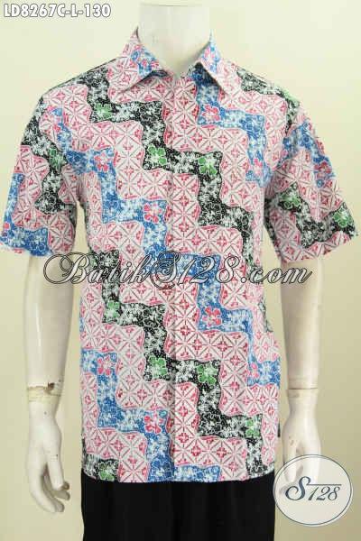 Baju Batik Keren, Hem Batik Modern, Baju Batik Hangout Dan Kerja Bahan Halus Motif Proses Cap Harga 130K [LD8267C-L]