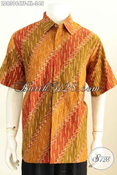 Baju Batik Cowok Elegan Model Lengan Pendek, Busana Batik Istimewa Bahan Adem Motif Klasik Proses Cap Tulis Daleman Full Furing [LD8396CTF-XL]
