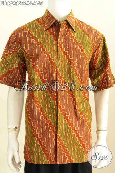 Baju Batik Hem Pria Model Lengan Pendek, Busana Batik Elegan Cocok Buat Kerja Dan Kondangan Lengan Pendek Full Furing Hanya 300 Ribuan [LD8398CTF-XL]