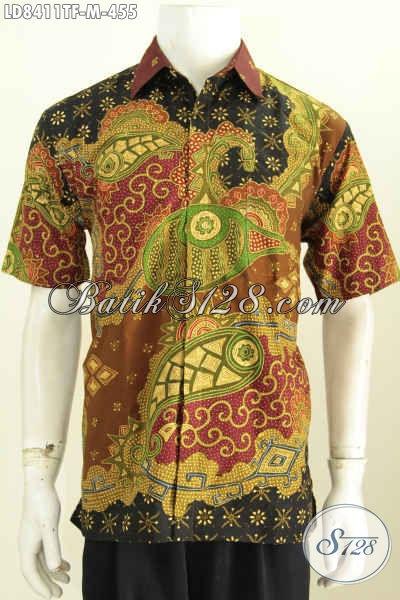 Toko Online Batik Sedia Pakaian Batik Pria Branded, Kemeja Batik Full Furing Lengan Pendek Proses Tulis Kwalitas Premium [LD8411TF-M]