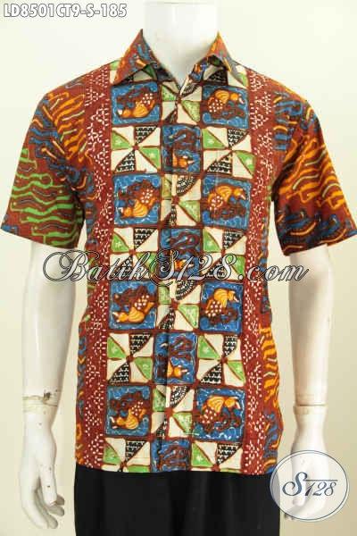 Harga Baju BatikPria Lengan Pendek 185K, Berbahan Halus Motif Kombinasi Proses Cap Tulis Asli Buatan Solo, Cocok Buat Gaul [LD8501CT-S]