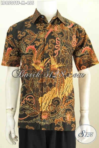 Hem Batik Lengan Pendek Premium, Baju Batik Elegan Untuk Pria Kantoran Motif Tulis Full Furing Bahan Adem Nyaman Di Pakai [LD8509TF-M]