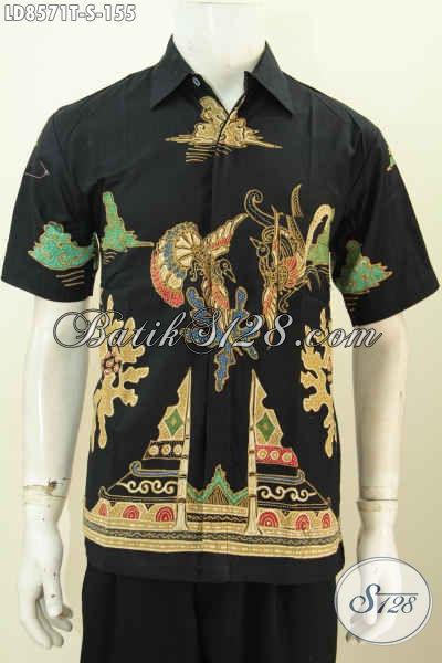 Jual Aneka Baju Batik Pria Masa Kini, Hem Batik Tulis Lengan Pendek Hitam Motif Bagus Hanya 100 Ribuan [LD8571T-S]