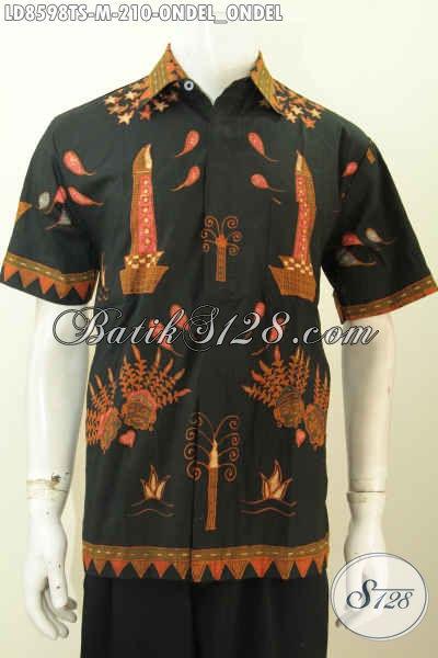 Baju Batik Keren Cowok Motif Ondel-Ondel Betawi, Hem Batik Tulis Soga Istimewa Model Lengan Pendek Desaain 2020, Pria Tampil Modis [LD8598TS-M]