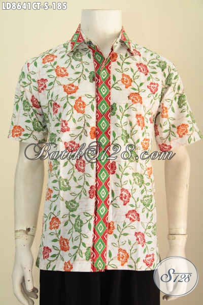 Batik Hem Trendy Lengan Pendek Nan Istimewa, Pakaian Batik Solo Halus Motif Proses Cap Tulis Untuk Kerja Dan Hangout [LD8641CT-S]
