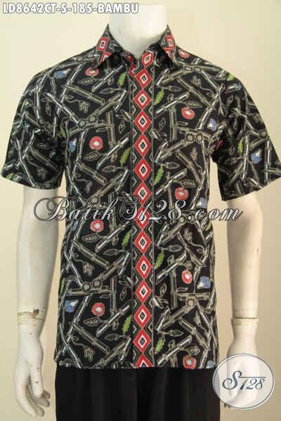 Baju Batik Pria Muda Motif Bambu, Kemeja Keren Dan Modis Untuk Santai Dan Hangout, Terlihat Lebih Modis [LD8642CT-S]