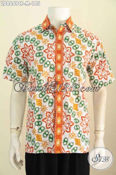 Baju Batik Lengan Pendek Cowok Ukuran M, Kemeja Modis Gaul Motif Keren Banget Proses Cap Tulis, Bisa Untuk Hangout [LD8649CT-M]