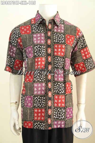 Baju Batik Pria Dewasa, Hem Batik Modis Dan Gaul Motif Kotak-Kotak Dengan Kombiansi Warna Keren Proses Cap Tulis, Pria Terlihat Tampan Dan Macho [LD8673CT-S]