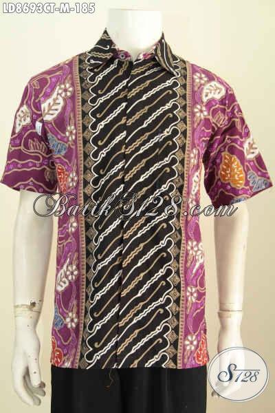 Baju Kemeja Lengan Pendek Cap Tulis Motif Kombinasi, Pakaian Batik Cowok Modern Klasik Lengan Pendek Yang Cocok Untuk Seragam Kerja Dan Acara Santai [LD8693CT-M]
