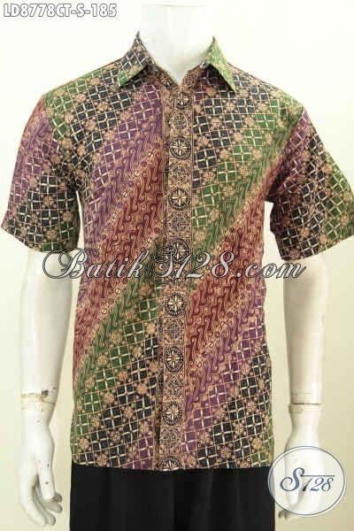 Toko Baju Batik Pria Online Murah, Sedia Hem Lengan Pendek Size S Halus Motif Trendy Warna Bagus Proses Cap Tulis Untuk Penampilan Lebih Istimewa [LD8778CT-S]