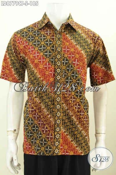 Toko Busana Batik Solo Online Paling Up To Date, Jual Kemeja Pria Size S Harga 185K Lengan Pendek Motif Bagus Cocok Untuk Santai Dan Resmi [LD8779CT-S]