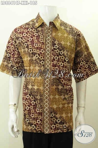 Batik Hem Big Size Elegan Lengan Pendek Motif Halus Proses Cap Tulis Untuk Kerja Dan Hangout, Spesial Pria Berbadan Gemuk [LD8841CT-XXL]