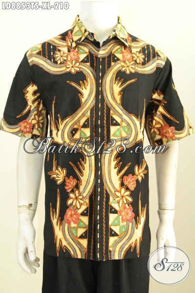 Batik Hem Elegan Pria Dewasa, Baju Batik Modis Lengan Pendek Motif Unik Dasar Hitam Proses Tulis Soga, Bisa Untuk Kerja Dan Acara Santai [LD8853TS-XL]