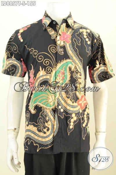 Hem Batik Tulis Murah Motif Bagus, Baju Batik Modern Untuk Pria Tampil Keren Model Lengan Pendek Asli Dari Solo [LD8857T-S]