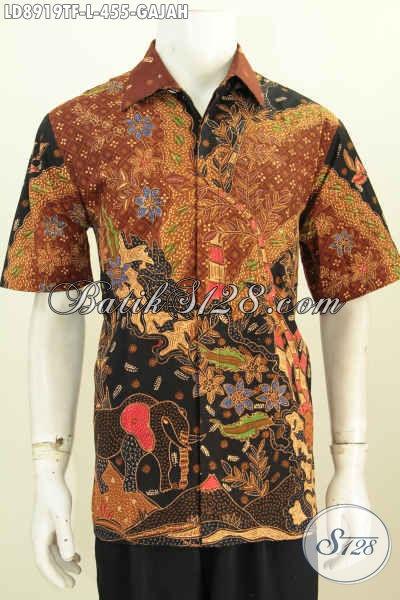 Batik Hem Pria Motif Gajang, Baju Lengan Pendek Pemium Untuk Kerja Full Furing Proses Tulis Harga 455K [LD8919TF-L]