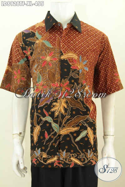 Produk Pakaian Batik Kerja Istimewa Buatan Solo, Hem Batik Resmi Proses Tulis Model Lengan Pendek Full Furing, Tampil Mewah Dan Gagah [LD8928TF-XL]