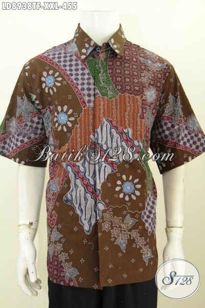 Jual Baju Batik Hem Masa Kini, Kemeja Lengan Pendek Big Size Untuk Lelaki Gemuk Tampil Mewah Dan Berkelas Harga 400 Ribuan [LD8938TF-XXL]
