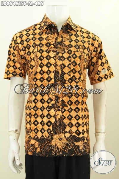 Baju Batik Elegan Lengan Pendek Keren Halus Proses Tulis Soga, Pakaian Batik Full Furing Halus Buatan Solo, Bisa Untuk Santai Dan Formal [LD8942TSF-M]