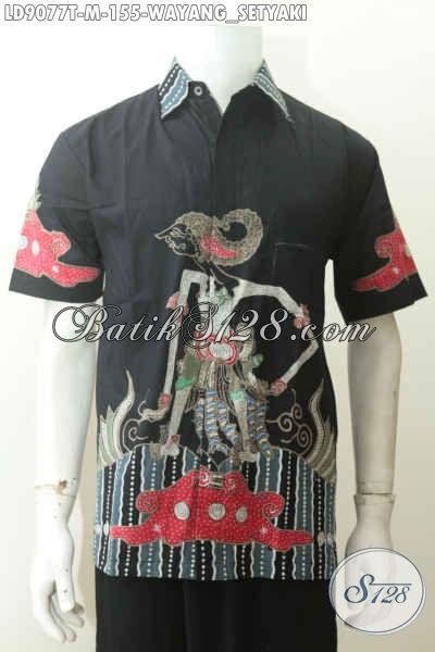Hem Batik Wayang Proses Tulis, Baju Batik Motif Setyaki Lengan Pendek, Cocok Buat Gaul [LD9077T-M]