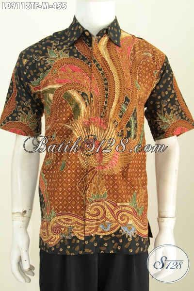 Baju Batik Distro Untuk Pria Muda, Hem Batik Halus Motif Mewah Proses Tulis Daleman Pakai Furing, Penampilan Lebih Berkelas Dan Mewah [LD9118TF-M]