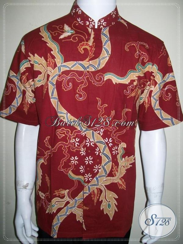 Batik Koko Pria Lengan Pendek Kerah Shanghai, Motif Modern [LD912TK-L]