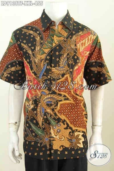 Baju Batik Pria Buatan Solo, Produk Baju Hem Batik Mewah Halus Lengan Pendek Big Size, Pria Gemuk Terlihat Berwibaw [LD9138TF-XXL]