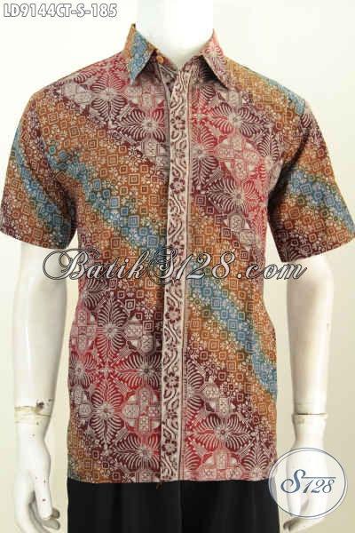 Baju Batik Fashion Anak Muda Motif Modern Klasik Proses Cap Tulis, Hem Batik Lengan Pendek Bikin Penampilan Lebih Modis [LD9144CT-S]