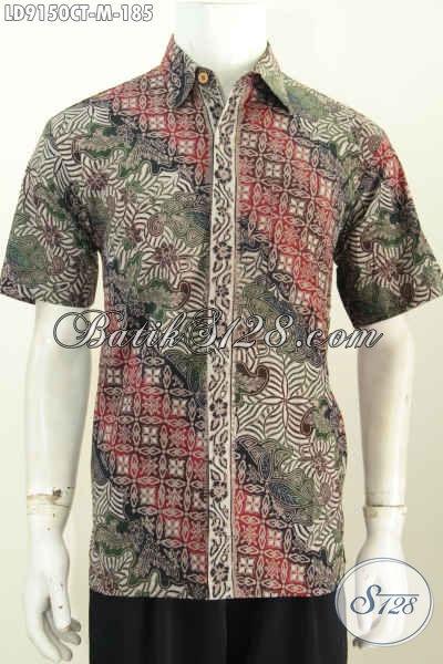 Eceran Dan Grosir Baju Batik Pria Modern, Hem Lengan Pendek Halus Motif Trendy Cap Tulis, Pas Banget Buat Kerja [LD9150CT-M]