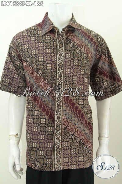 Batik Hem Modis Solo Lengan Pendek, Pakaian Batik Jawa Etnik Motif Modern Klasik Proses Cap Tulis, Bisa Buat Santai Dan Resmi [LD9158CT-XL]