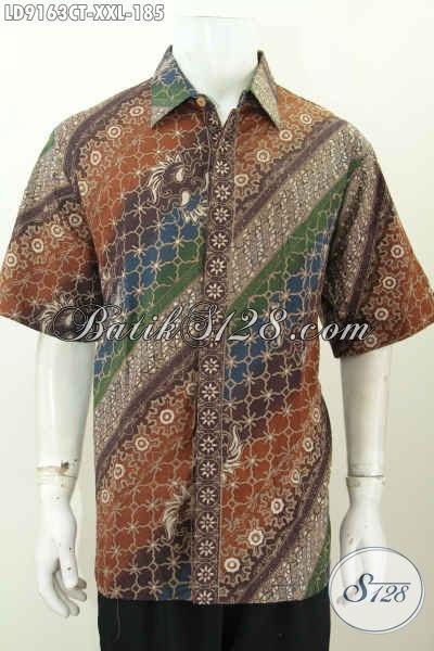 Produk Pakaian Batik Lelaki Gemuk, Hem Batik Jumbo Lengan Pendek Motif Mewah Cap Tulis, Bikin Penampilan Lebih Gagah [LD9163CT-XXL]
