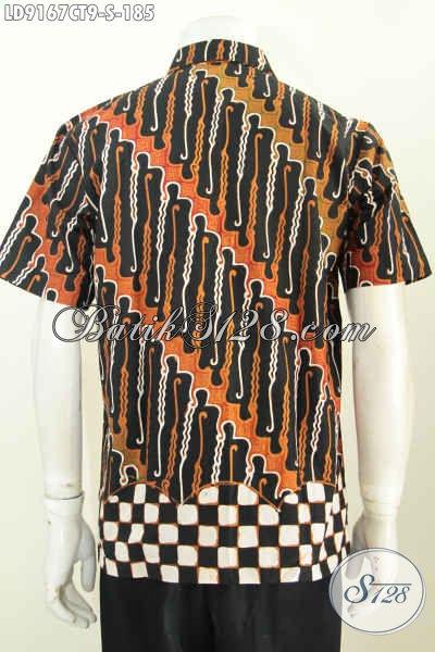 Online Shop Pakaian Batik Pria Terlengkap, Jual Kemeja Lengan Pendek ELegan Motif Berkelas Proses Cap Tulis, Pas Untuk Kerja Dan Hangout [LD9167CT-S]