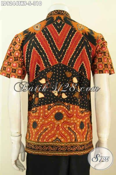 Hem Batik Koko Pria Muda, Baju Batik KErah Shanghai Lengan Pendek Remaja Pria Proses Tulis Motif Klasik, Tampil Berkelas [LD9244TK-S]