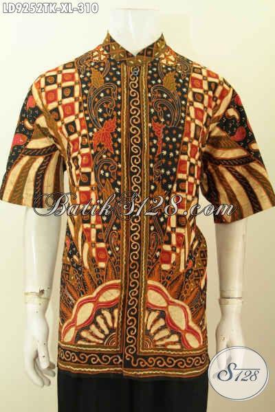 Batik Hem Pria Dewasa, Kemeja Batik Kerah Shanghai Halus Lengan Pendek Motif Klasik Proses Tulis Harga 310K, Tampil  Gagah Dan Keren [LD9252TK-XL]