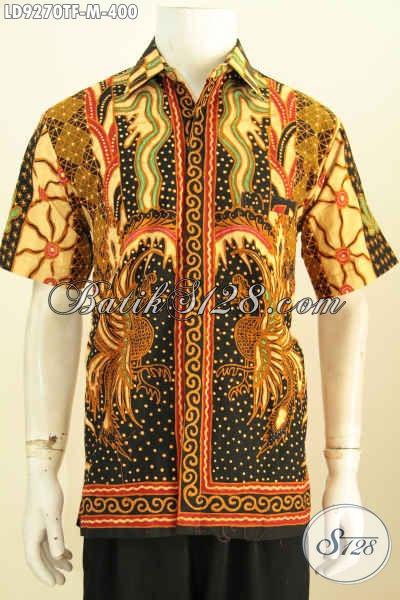 Hem Lengan Pendek Klasik Pria Muda, Baju Batik Mewah Full Furing Motif Klasik Sinaran Proses Tulis Harga 400 Ribu [LD9270TF-M]