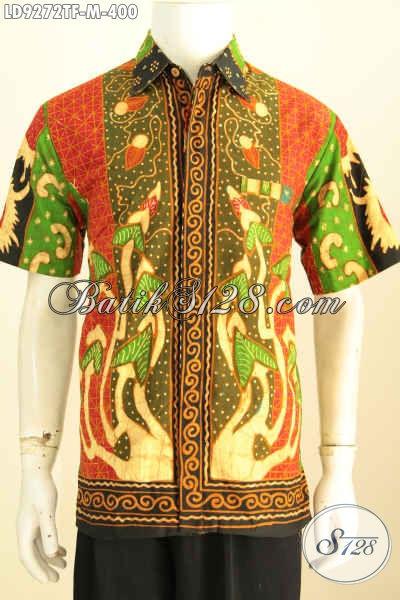Sedia Baju Batik Kerja Mewah Lengan Pendek, Kemeja Batik Full Furing Motif Sinaran Proses Tulis, Tampil Gagah Dan Tampan [LD9272TF-M]