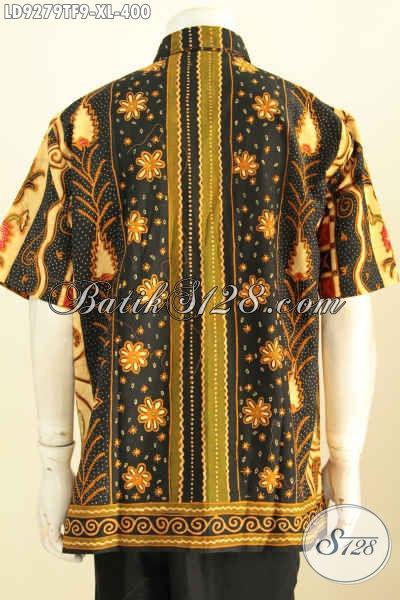 Baju Batik Pria Dewasa Nan Mewah, Kemeja Batik Full Furing Lengan Pendek Buatan Solo Motif Klasik Sinaran Proses Tulis Harga 400K [LD9279TF-XL]