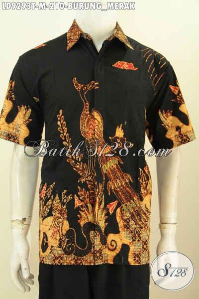 Kemeja Batik Solo Halus, Hem Batik Tulis Lengan Pendek Keren Motif Burung Merah Dasar Hitam, Tampil Keren Menawan [LD9293T-M]