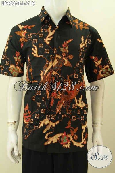 Desain Pakaian Batik Cowok Terbaru, Hadir Dengan Motif Nan Keren Bepadu Warna Hitam Elegan Proses Tulis, Di Jual Online 210K [LD9304T-L]