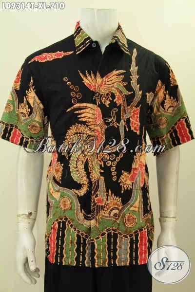 Baju Kerja Bahan Batik Tulis Premium, Kemeja Batik Istimewa Lengan Pendek Buatan Solo Untuk Lelaki Dewasa Tampil Gagah [LD9314T-XL]