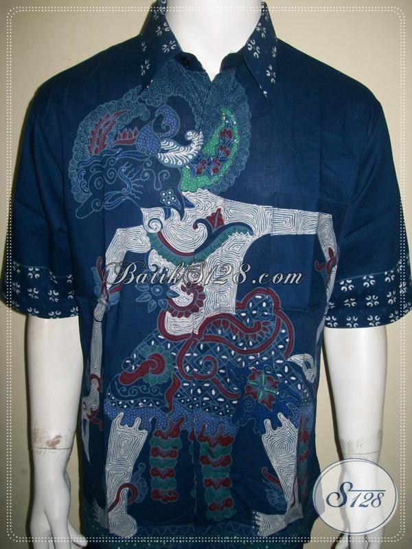 Hem Batik Wayang Pria Motif Werkudoro / Bimo, Batik Tulis Pria Ukuran XL [LD931T-XL]